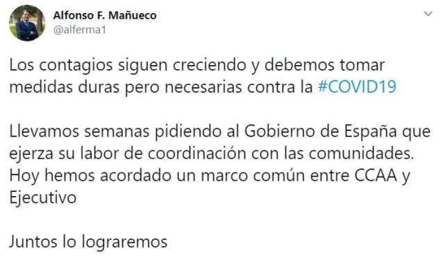 Imagen del tuit publicado este viernes por el presidente de la Junta de Castilla y León, Alfonso Fernández Mañueco.